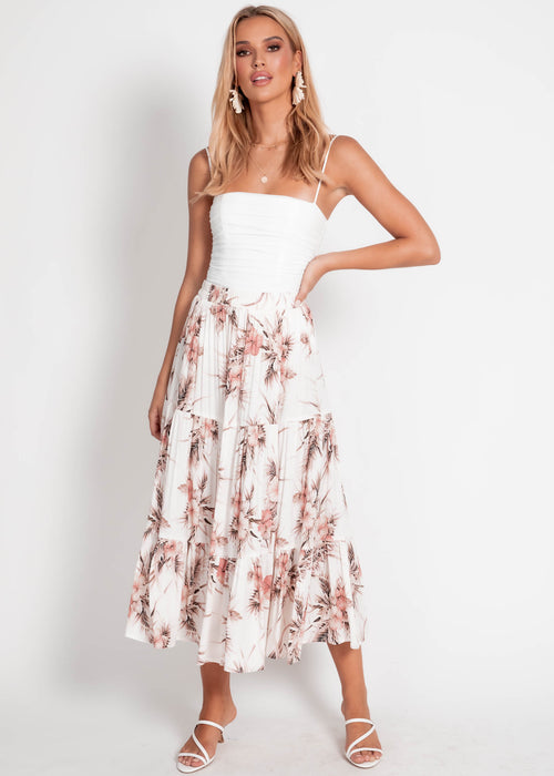 Light Up Maxi Skirt - White Floral
