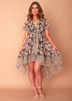 After Midnight Hi-Lo Dress - Black Floral
