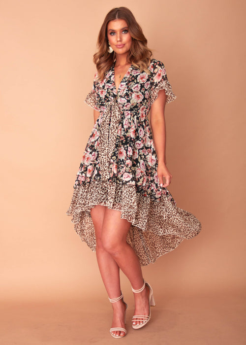 Women's After Midnight Hi-Lo Dress - Black Floral