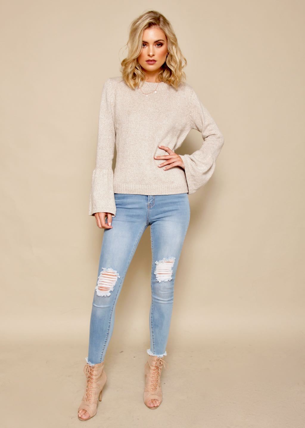 Downtown Drive Sweater - Beige