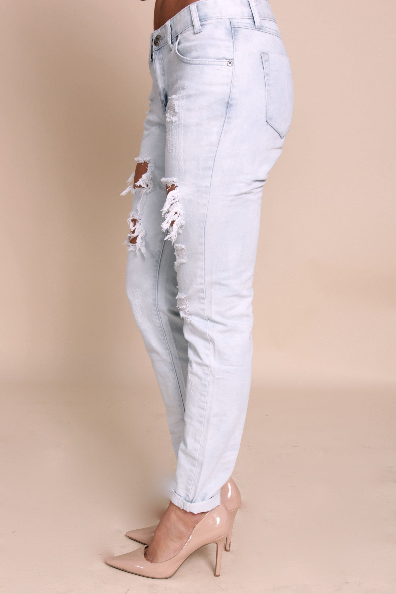 Riley Boyfriend Jeans- Light Blue