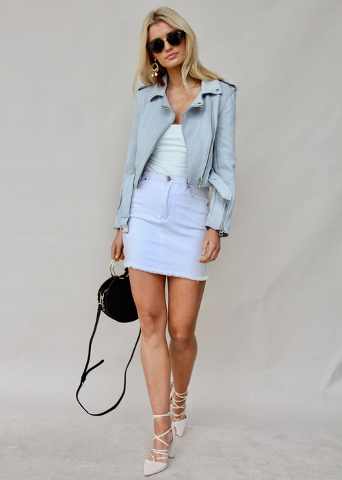 Marina Suede Jacket - Ice Blue