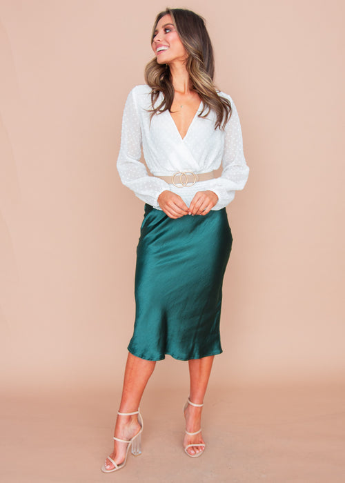 Keeping It Real Midi Skirt - Emerald