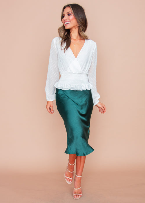 Women's Keeping It Real Midi Skirt - Emerald