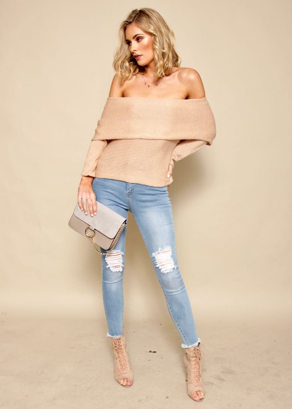 Cold Shoulder Knit Sweater - Tan