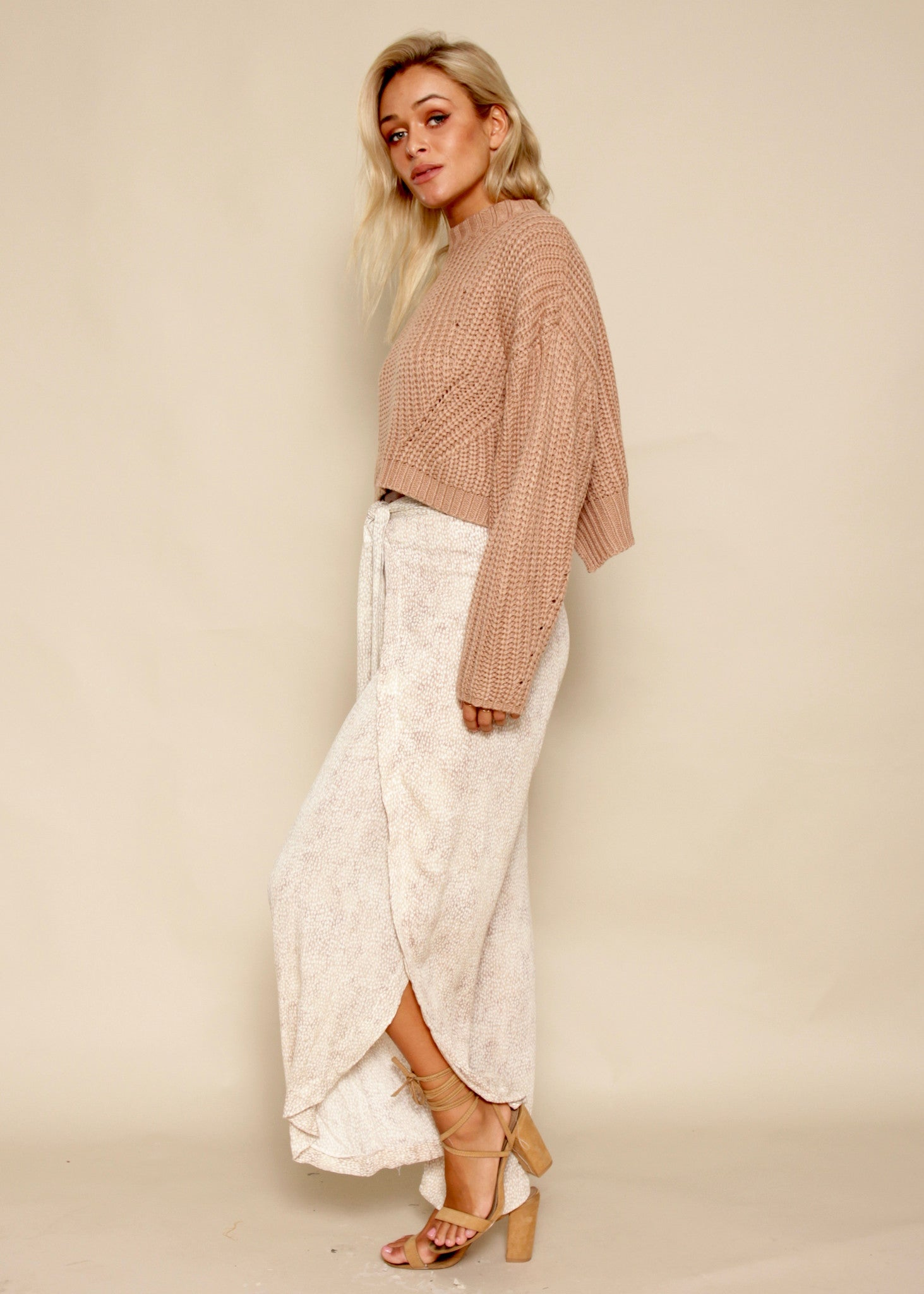 Crossed Paths Crop Sweater - Blush