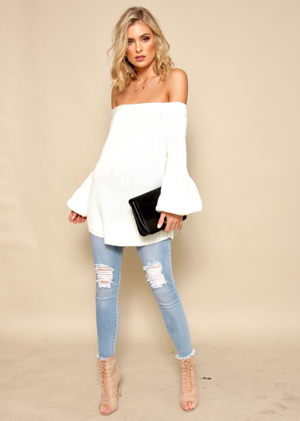 River Wild Off Shoulder Sweater - White