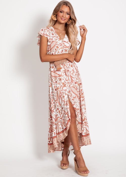 Nova Hi-Lo Midi Dress - Peach Paisley