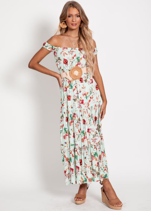 Gia Midi Dress - Mint Floral