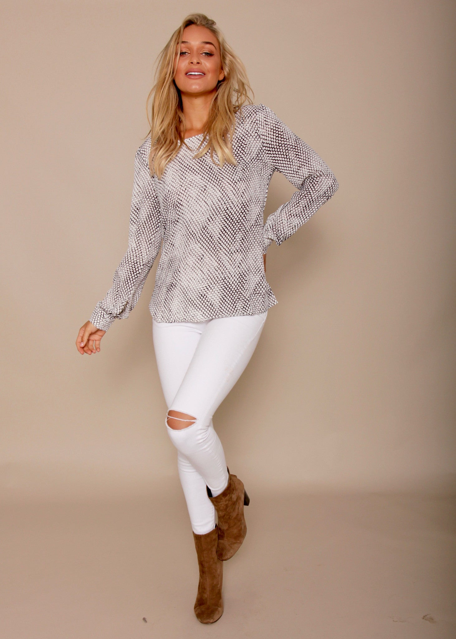 Emmerson Zip Back Blouse- Scales