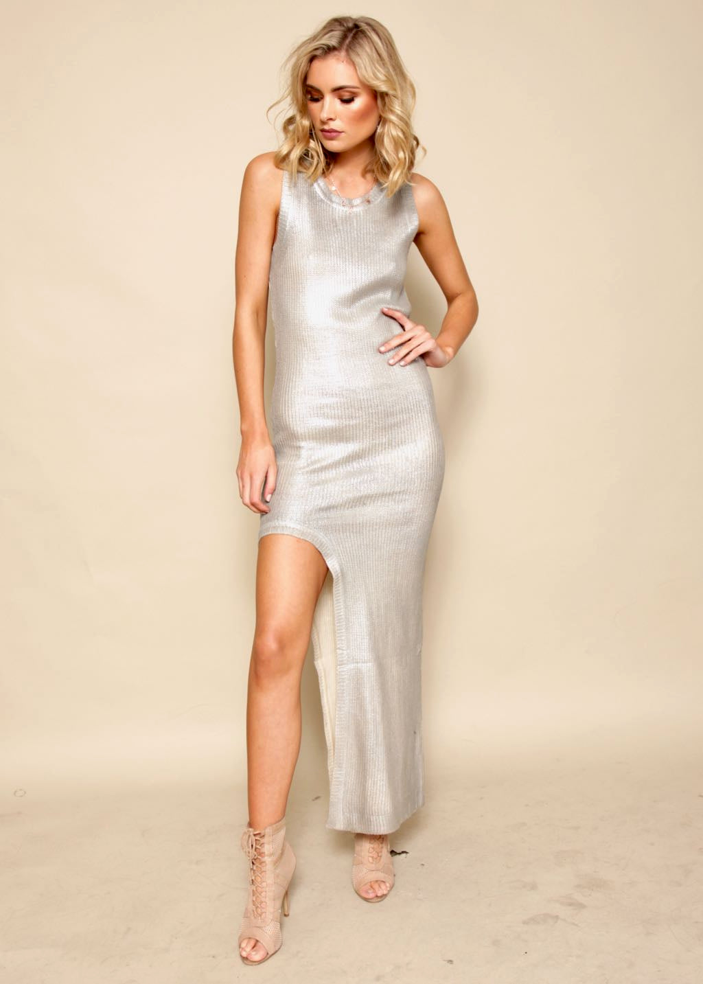 Rock With You Knit Dress - Silver