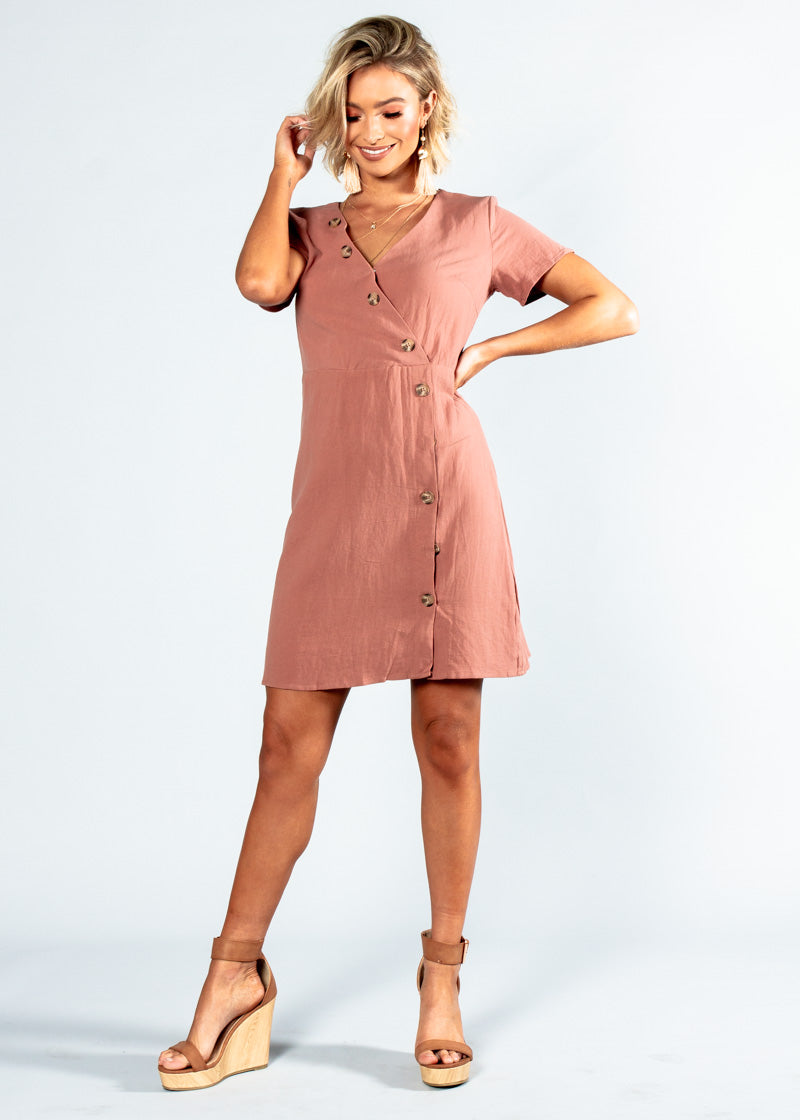 Rumour Has It Linen Dress - Dusty Rose