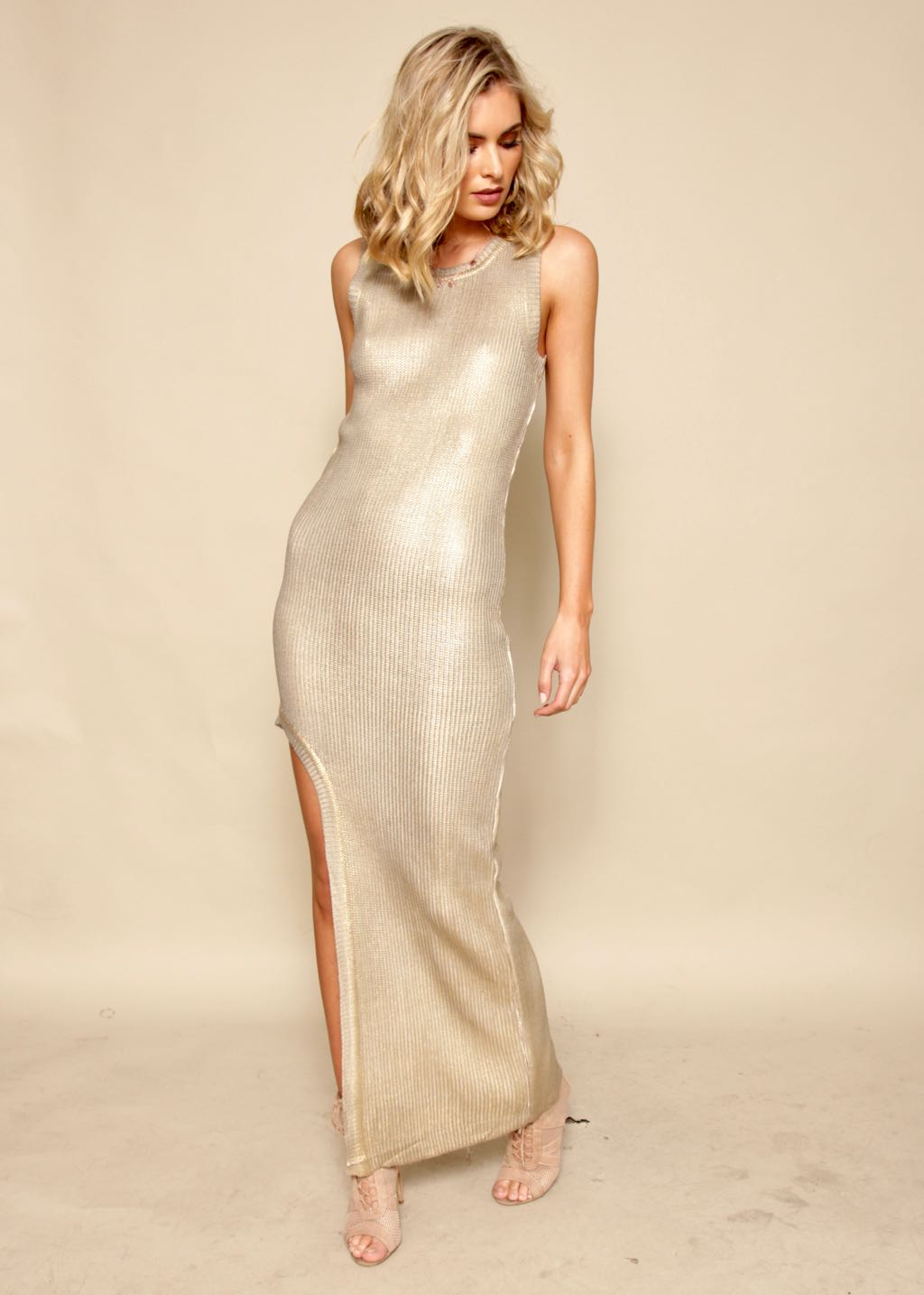 Rock With You Knit Dress - Gold