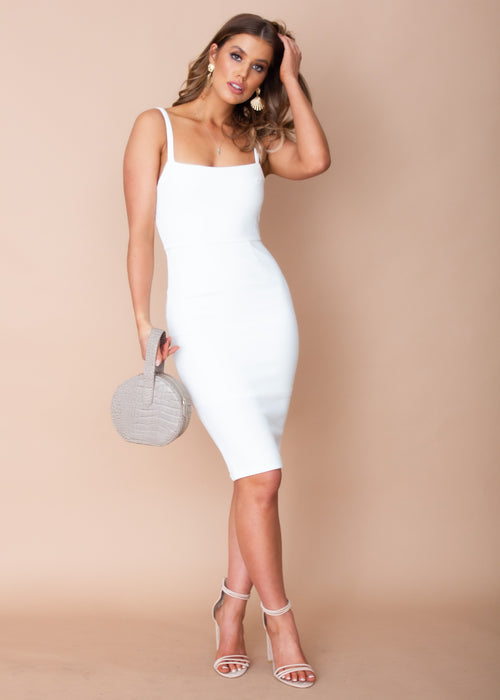 Missing Emotions Midi Dress - White