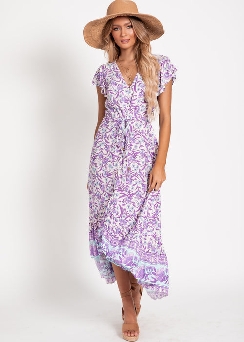 Nova Hi-Lo Midi Dress - Purple Floral