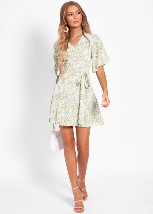 Silent Waves Wrap Dress - Khaki Floral