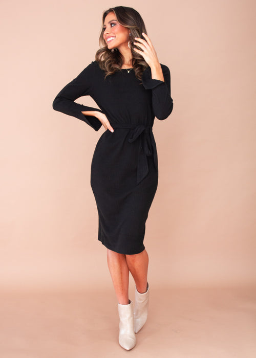 Catch your Breath Midi Dress - Black