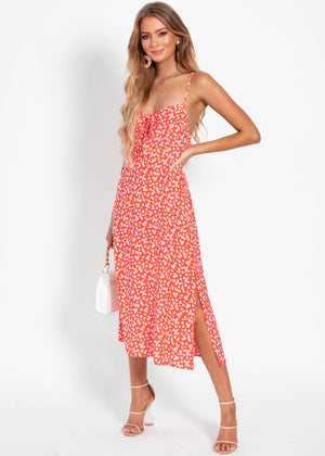 Adelle Midi Dress - Red Floral