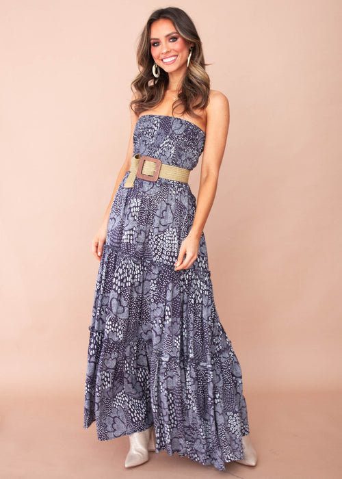 Indra Strapless Maxi Dress - Navy Twilight