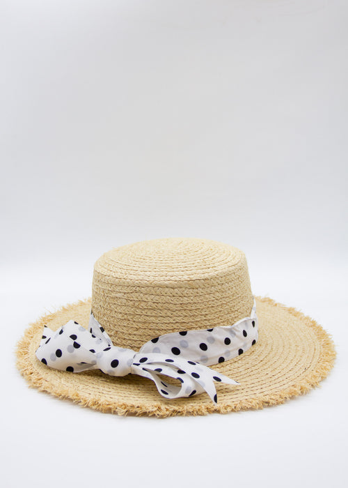 Adalee Hat - Natural/White Polka