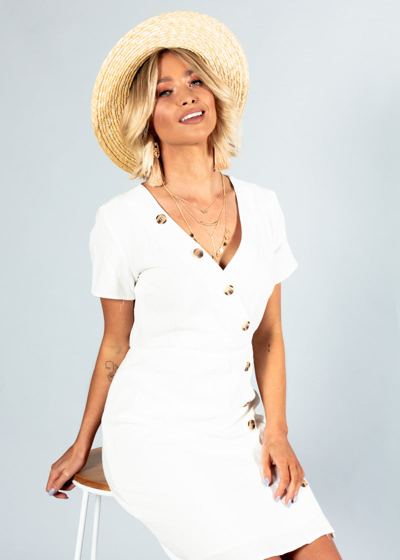 Rumour Has It Linen Dress - White