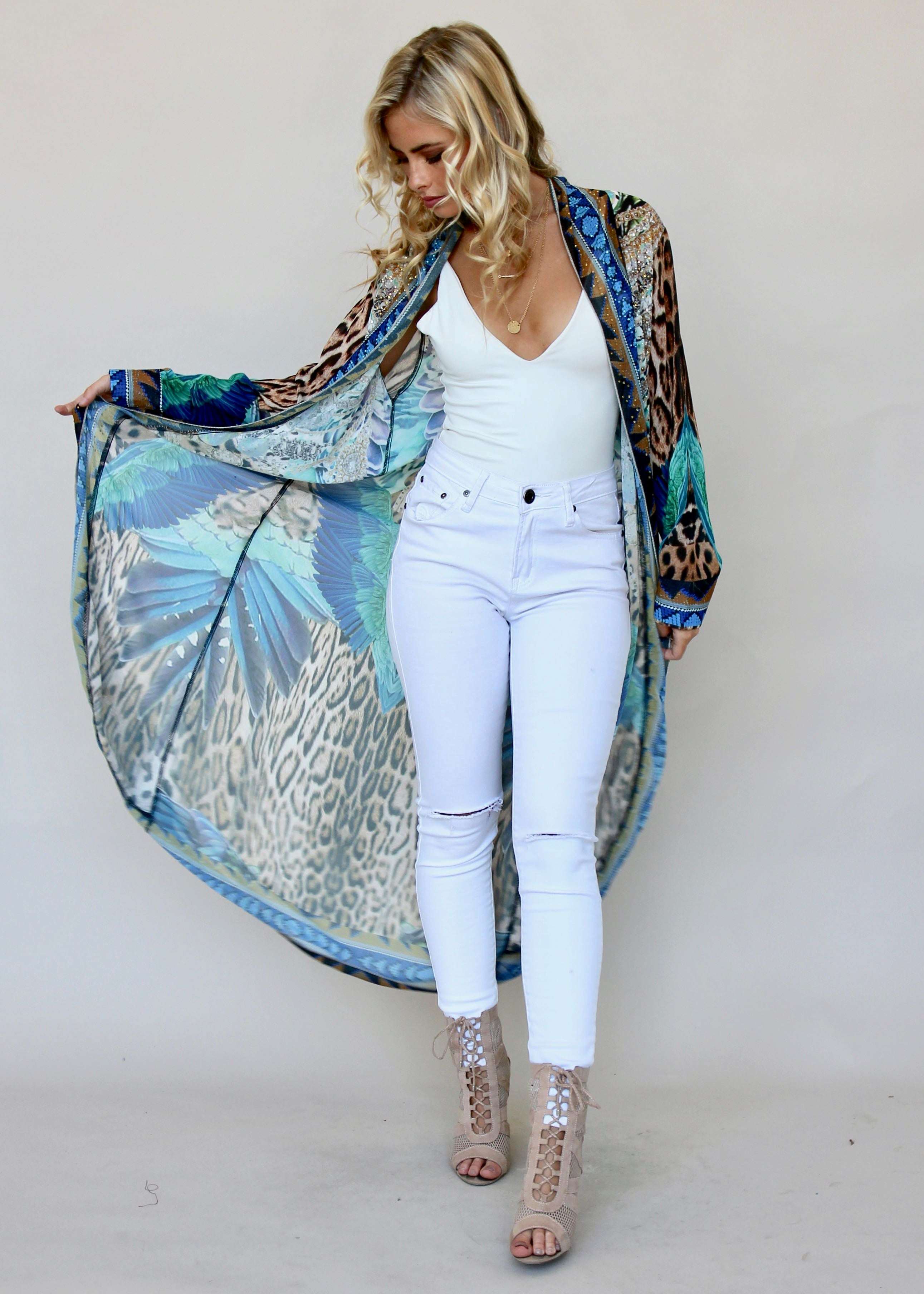 Worlds Collide Chiffon Cape - Turquoise Summer