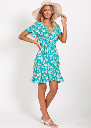 Adah Wrap Dress - Green Garden