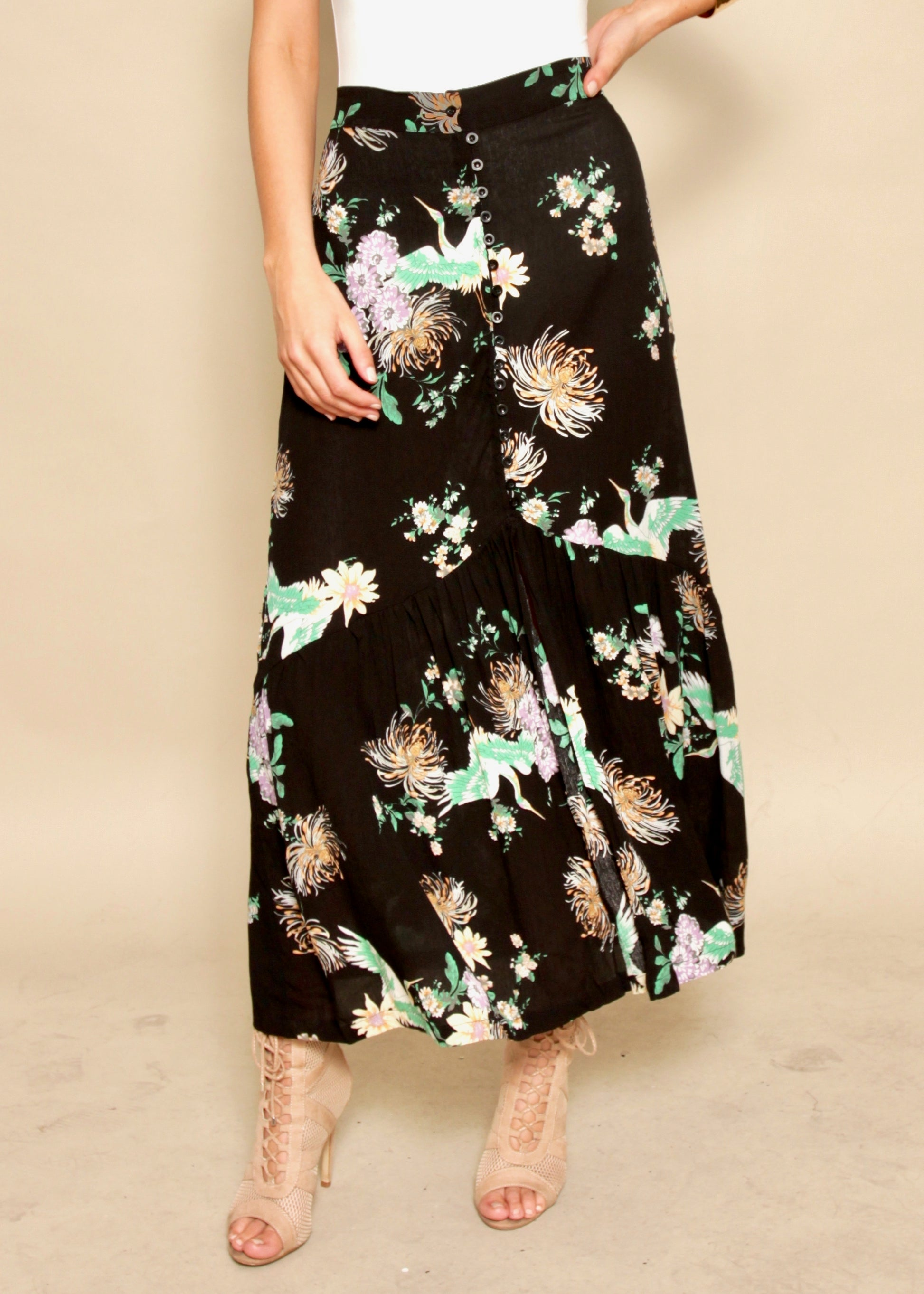 Side Story Maxi Skirt - Midnight Escape