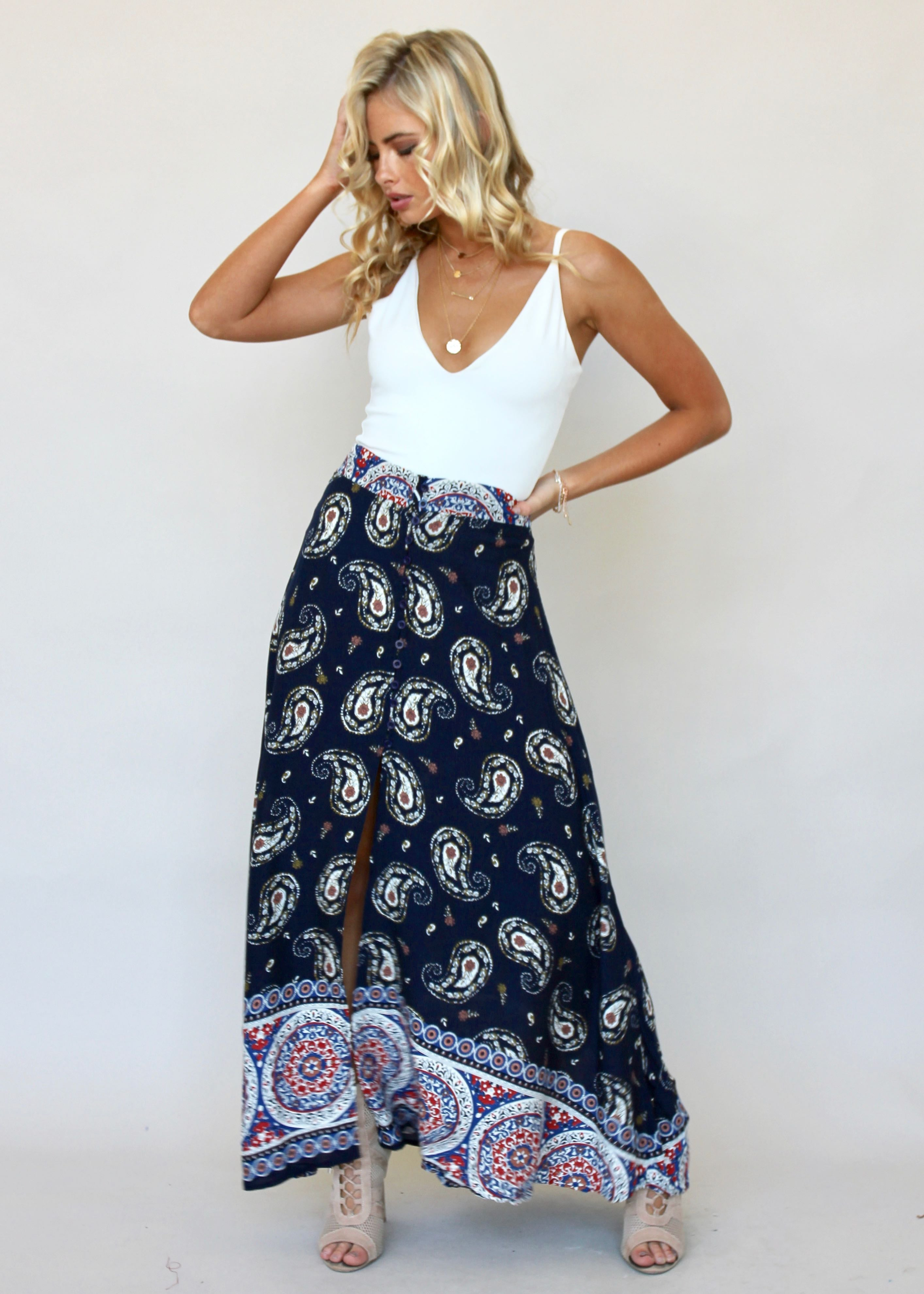 Simple Love Maxi Skirt - Navy Paisley