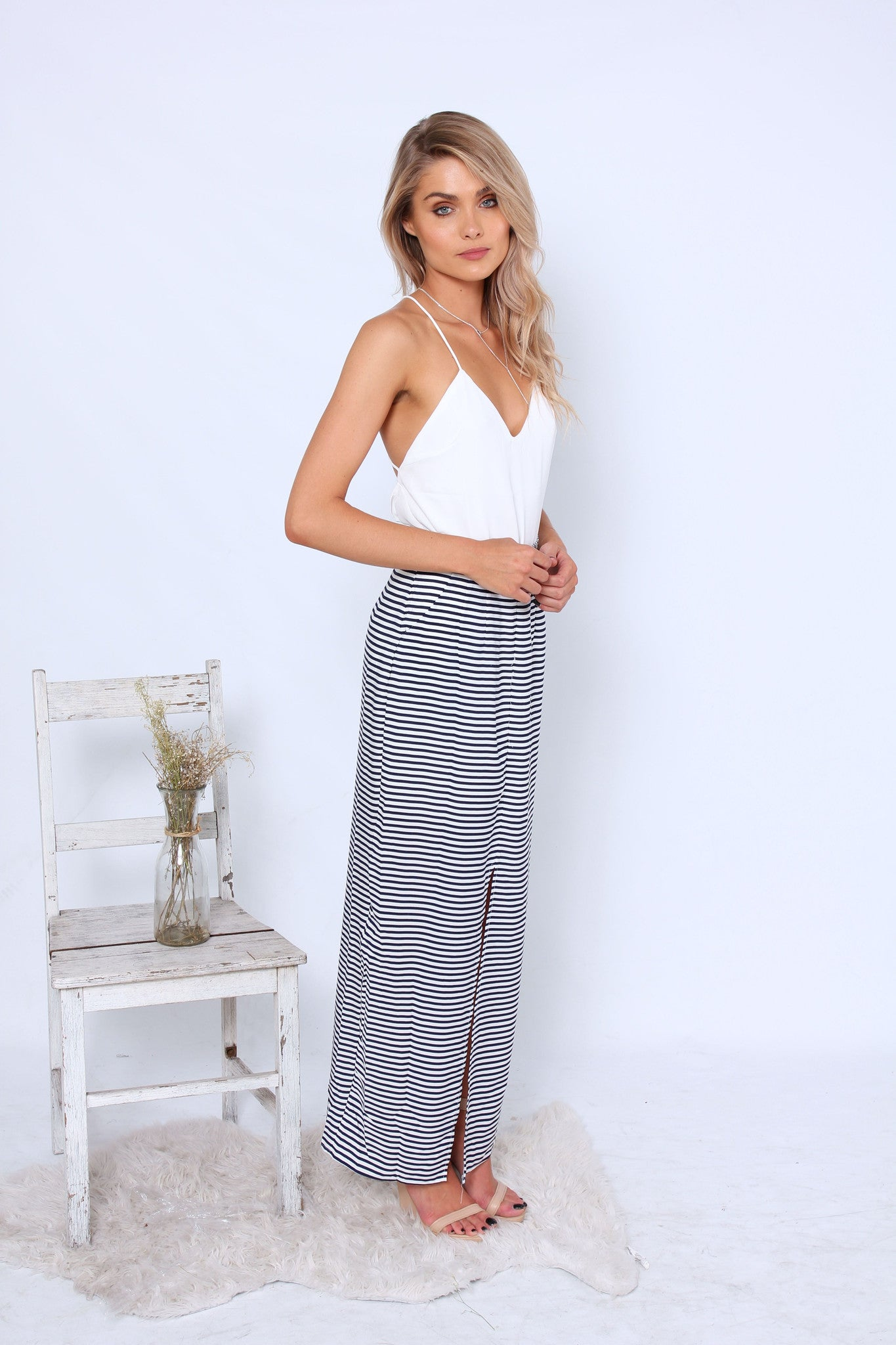 Element Maxi Skirt - Navy Stripes