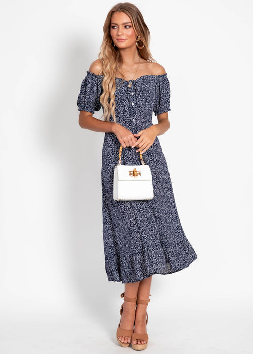 Ahlea Midi Dress - Navy Floral