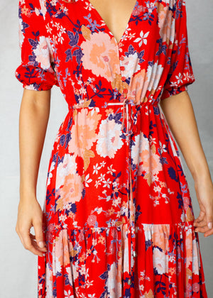 Zella Maxi Dress - Red Peonie
