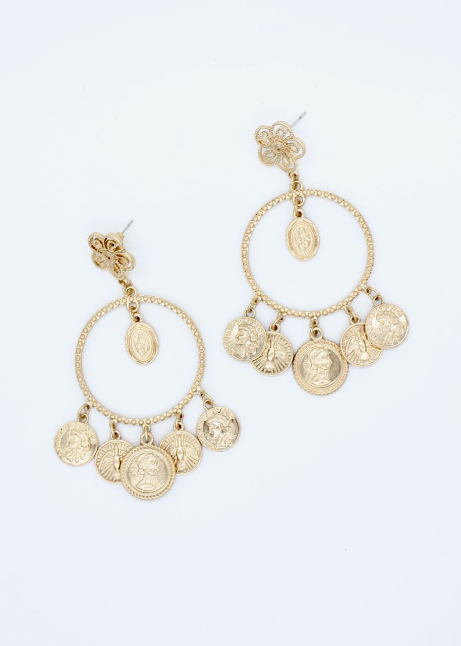 Ivy Coin Earrings - Gold