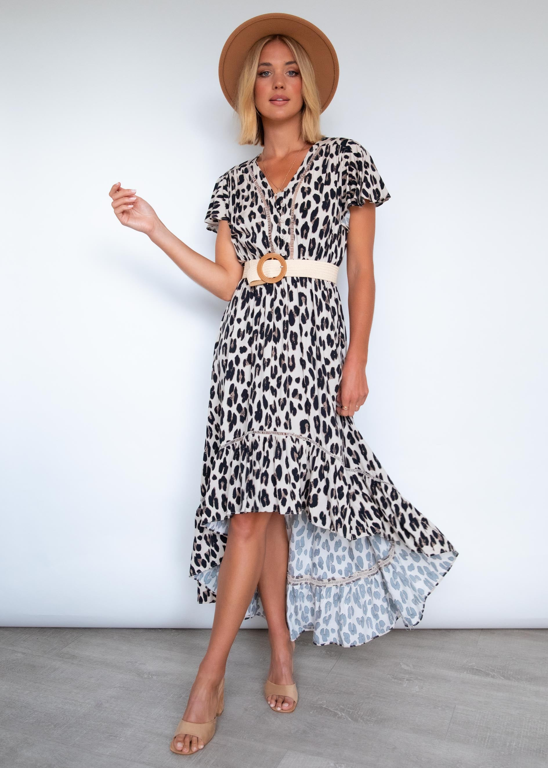 Talayah Hi-Lo Midi Dress - Leopard