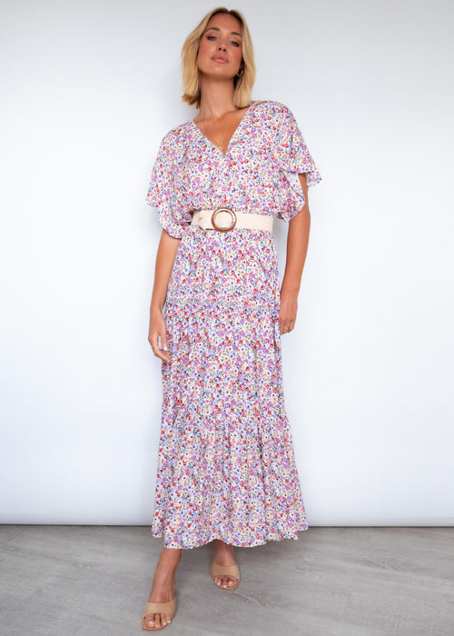 Riveria Maxi Dress - White Floral