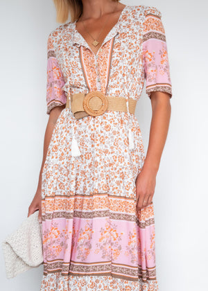 Karley Hi-Lo Maxi Dress - Peach Flowers