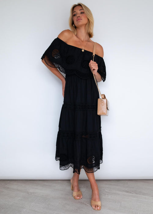Roscoe Off Shoulder Maxi Dress - Black