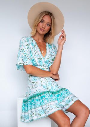 Compromises Wrap Dress - Mint Floral