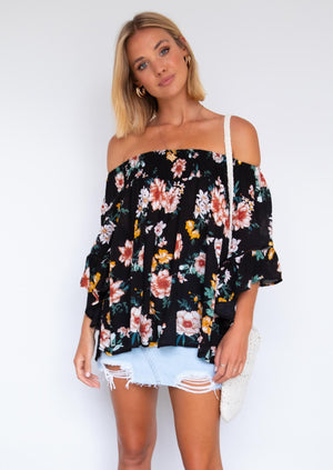 Say Hello Off Shoulder Blouse - Black Floral