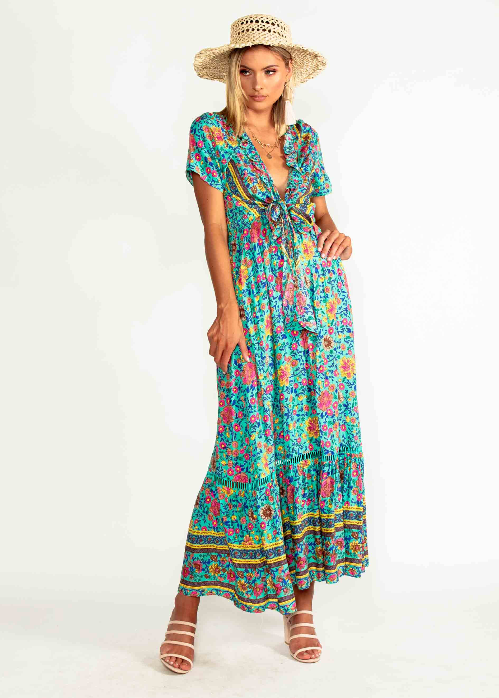 543e3b8ee Mabel Tie Maxi Dress - Teal Blossom – Gingham and Heels