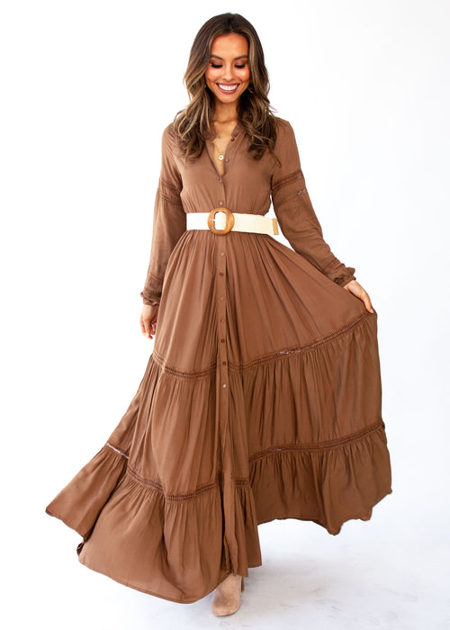 Women's Jaynie Maxi Dress - Mocha - Jaase