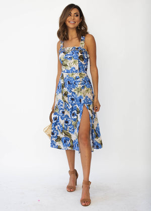 My Only Sunshine Linen Midi Dress - Blue Floral