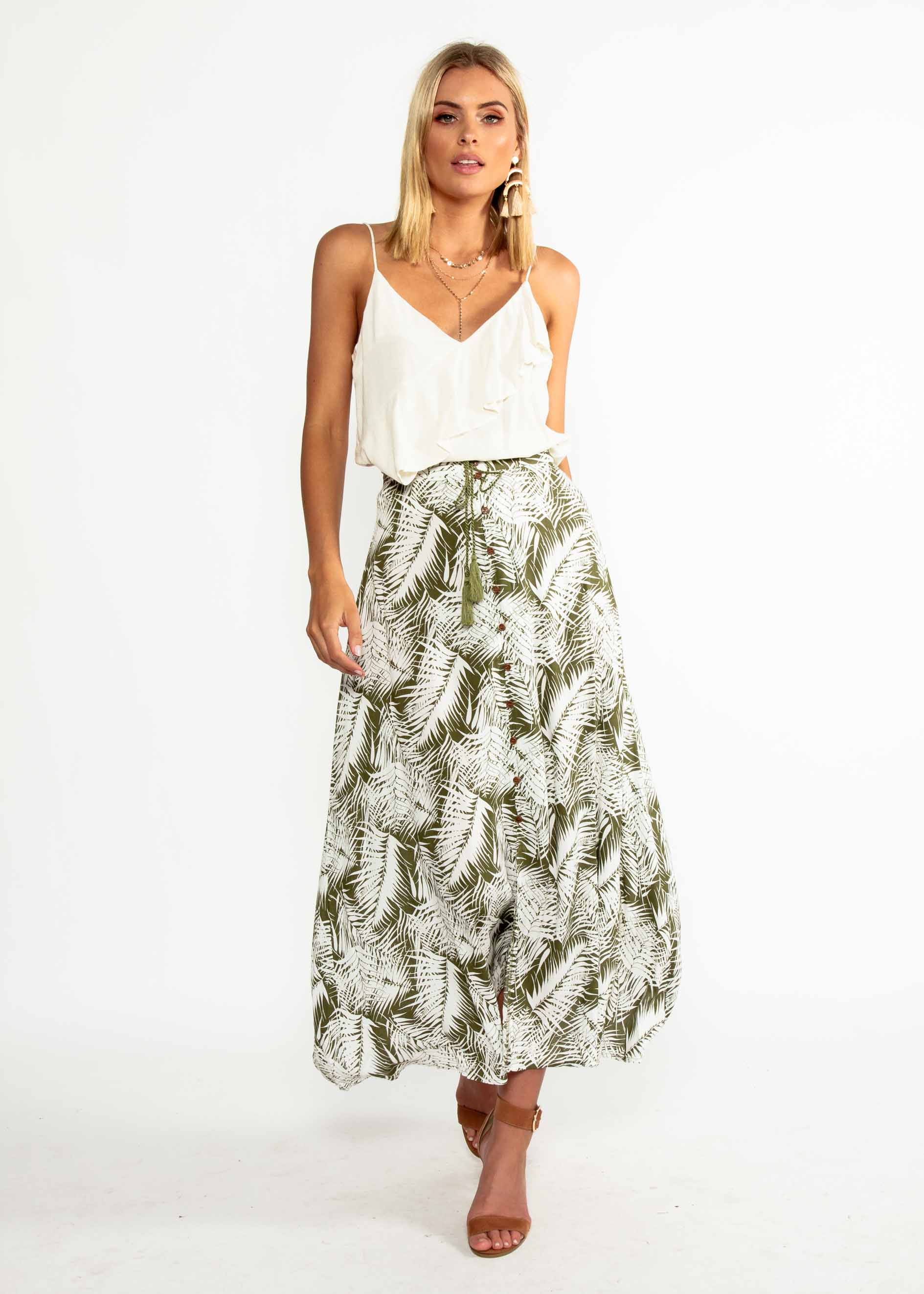 Better Now Maxi Skirt - Khaki Palm