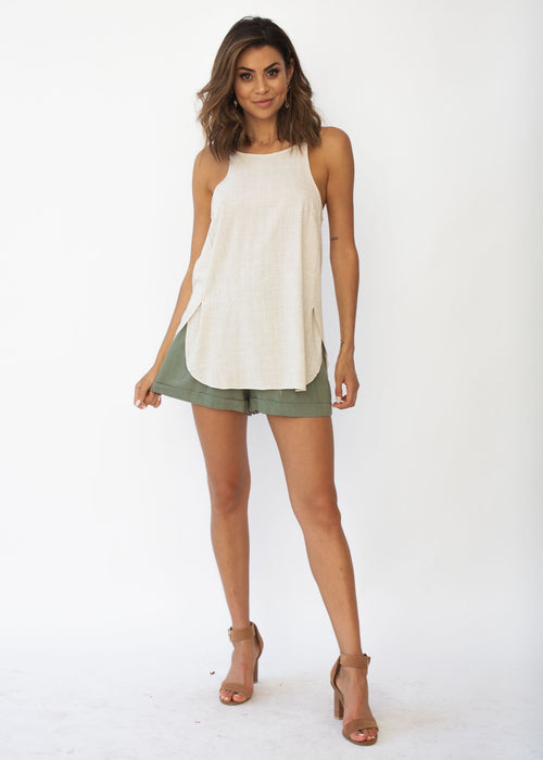 Hands Down Linen Singlet - Natural