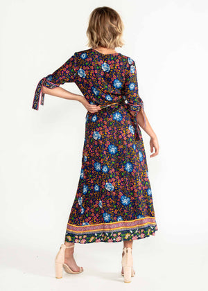 Beyond Dreams Wrap Maxi Dress - Navy Blossom