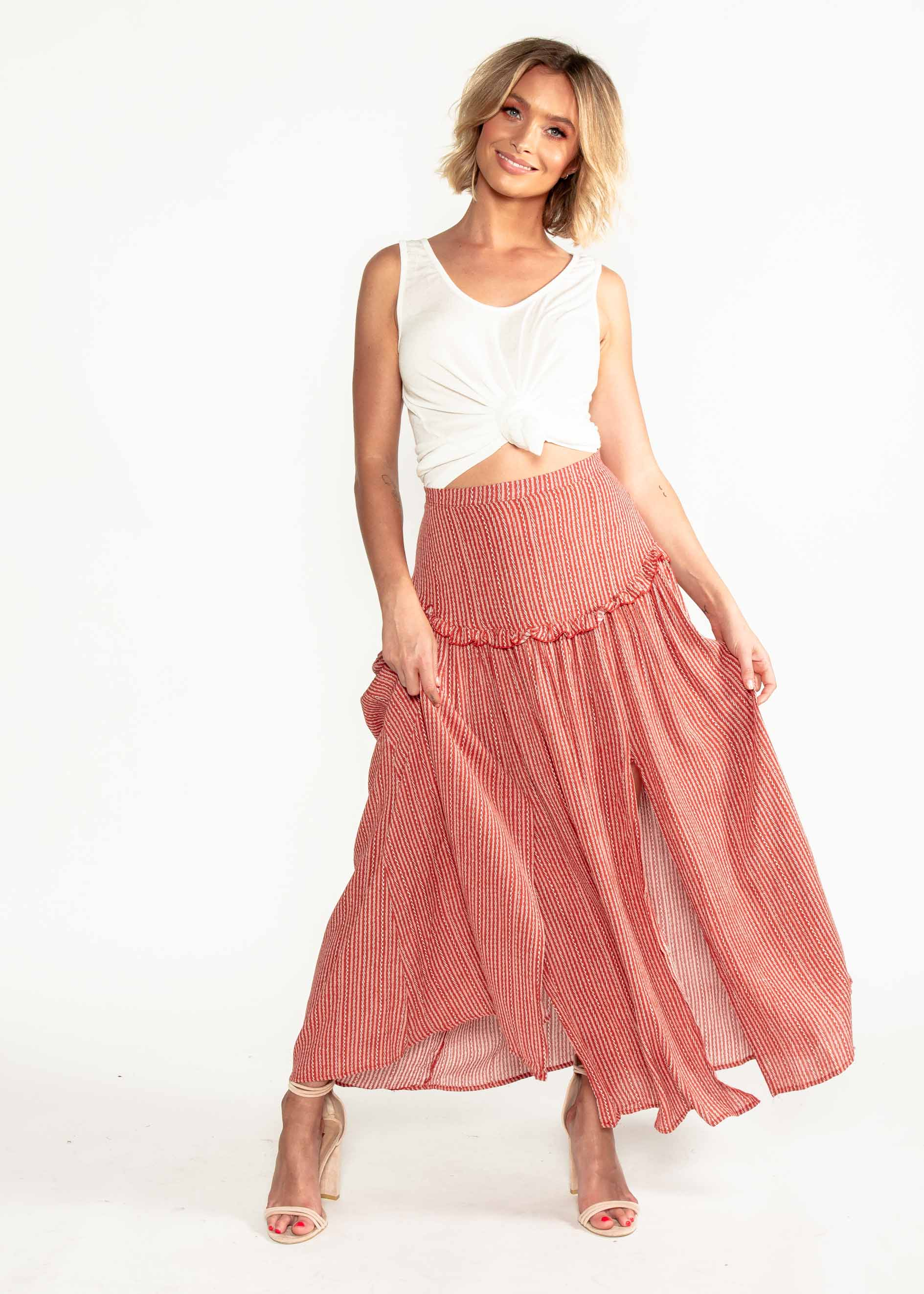 Back To You Maxi Skirt - Red Print