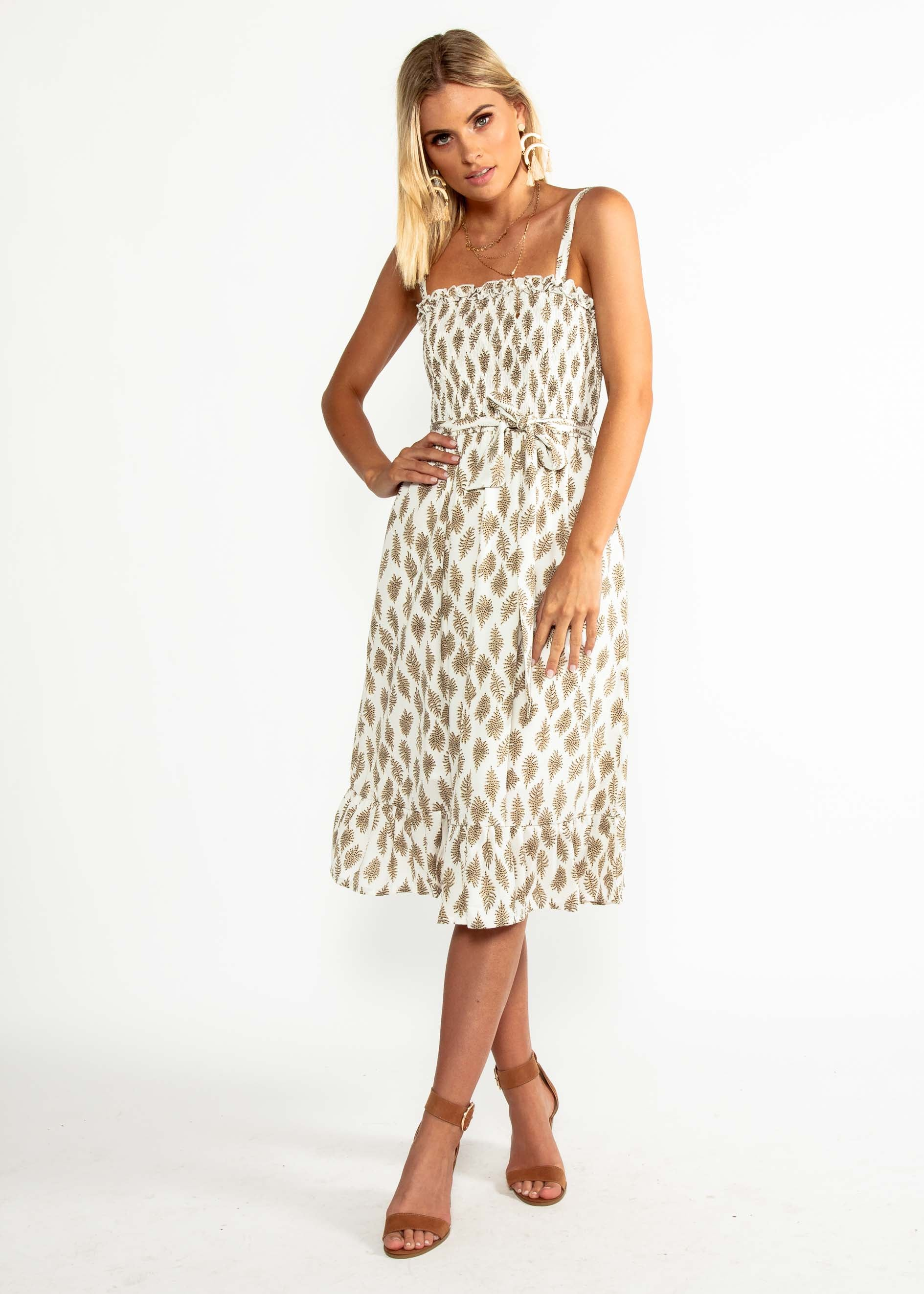 All My Love Midi Dress - White Leaf
