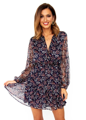 Women's Renewed Tunic Dress - Navy Floral
