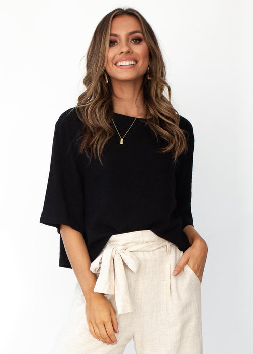 Simple Touch Linen Blouse - Black