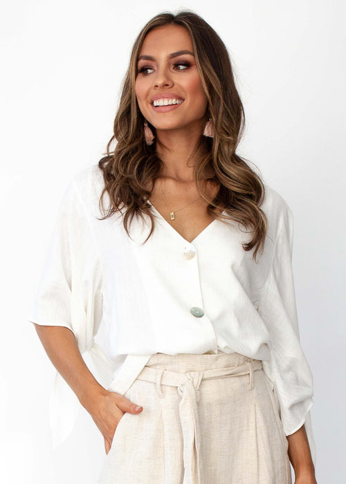 Women's Next To Me Buttoned Blouse - White